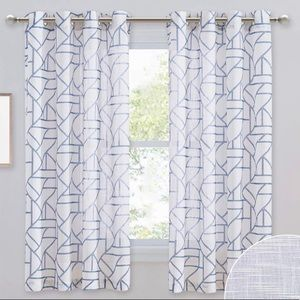 NEW White & Blue Geometric Curtains Grommet Top
